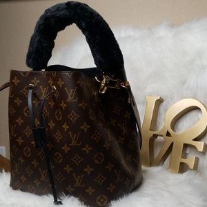 Handbags - NEW UNUSED BLACK FAUX FUR FUZZY TOP HANDLE FOR BAG